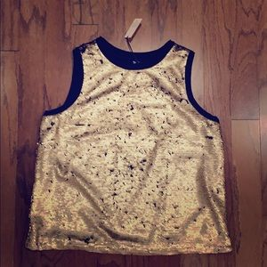 Tops - NWT mermaid gold and black sequin sleeveless top